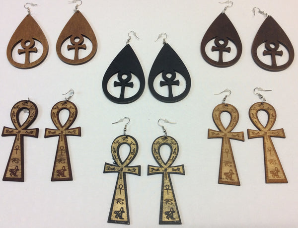 Wooden Ankh Cutout Earrings - Design 8
