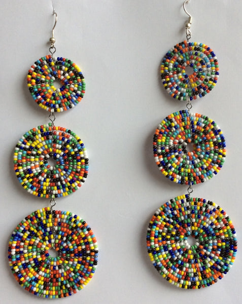 Colorful Circular Design Masai Inspired Earrings- Handmade in Kenya