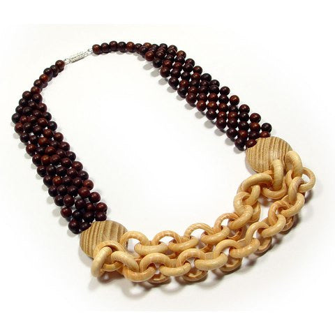 Two Tone Beaded Wooden Necklace