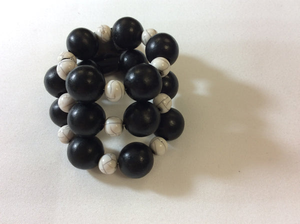 Memory Wire Stackable Wooden Bead Bracelet