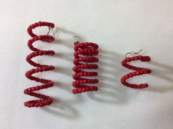 Memory Wire Spiral Beaded Design Earrings