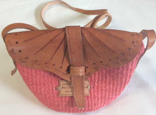 Sisal and Leather Crossbody Bag - Handmade Accessory