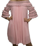 Chiffon Pleated Swing Dress - 3/4 Sleeve