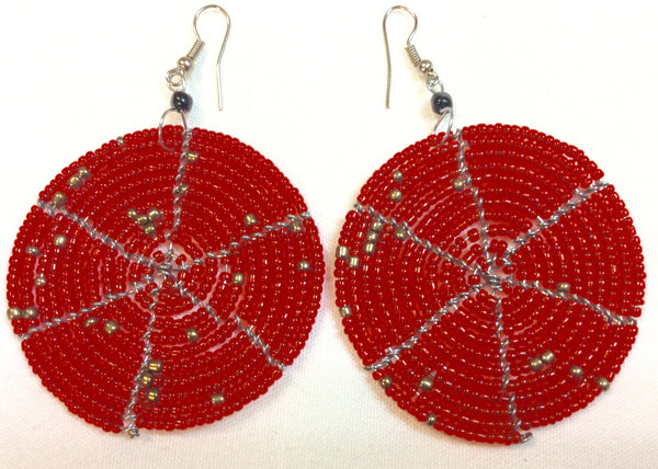 Kenya Masai Art Circular Beaded Earrings