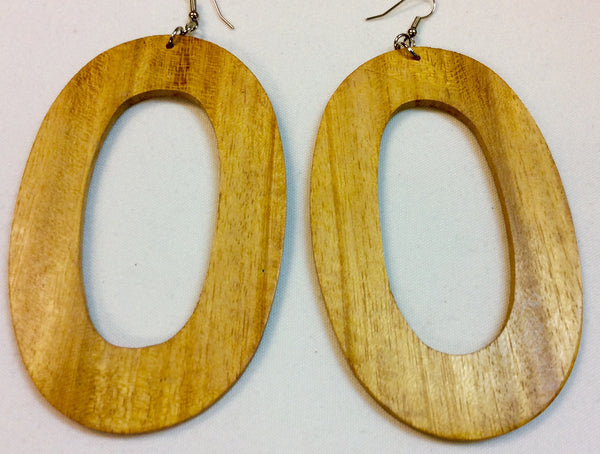Oval Wooden Simply Natural Design Earrings