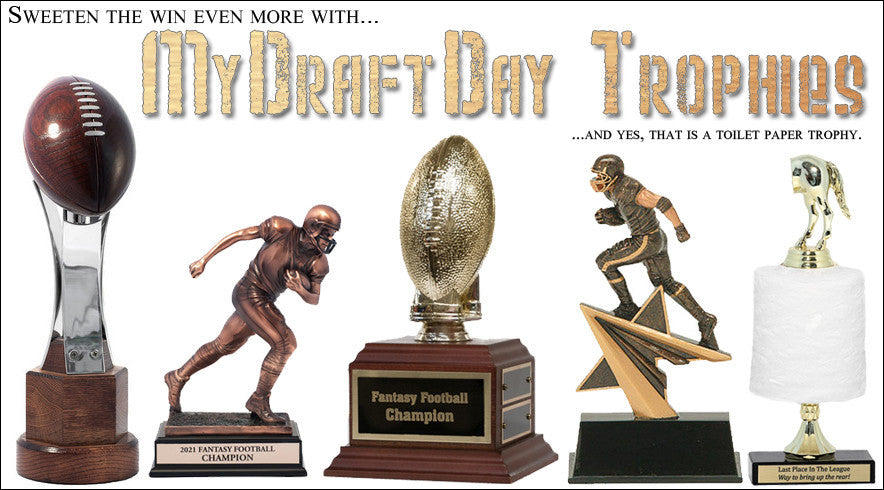 Fantasy football trophies.