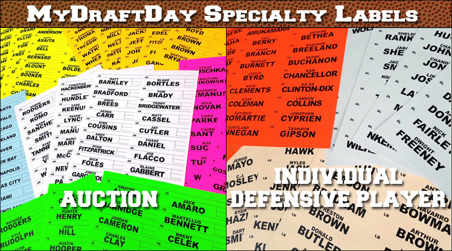 Individual Defense Player labels (IDP) and Fantasy Football Auction Draft labels also available.