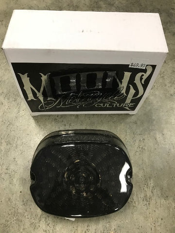 MoonsMC Low Profile Harley LED Tail Light (smoked black with integrated blinkers)