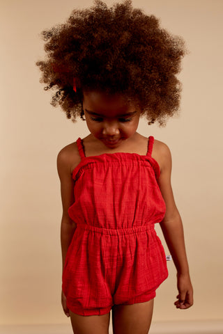 little girls romper red
