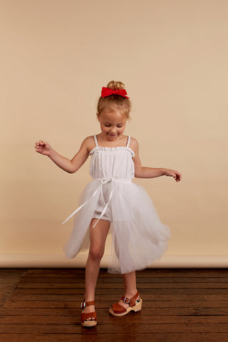 girls romper in white broderie anglaise