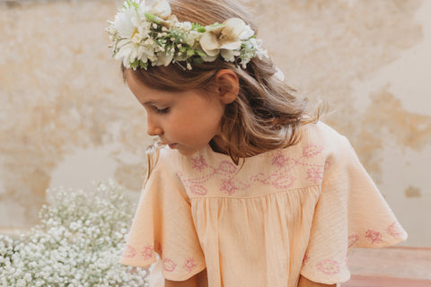 little girls folk dress blush