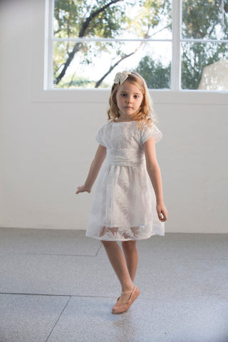 girls white party dress lace