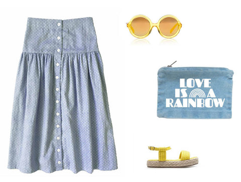 girls maxi skirt in chambray