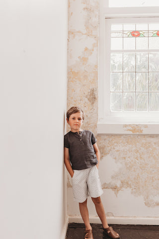boys henley shirt and shorts special occasion party outfit classic