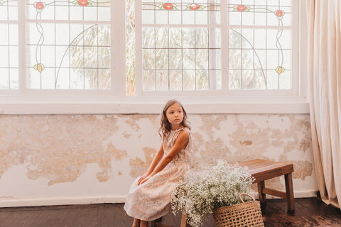 little girls simone midi dress in blush bluebell