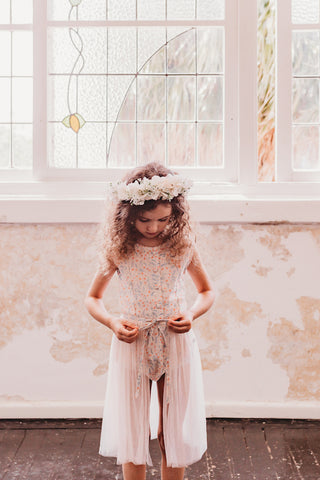 little girls evie playsuit with tulle skirt flowergirl party