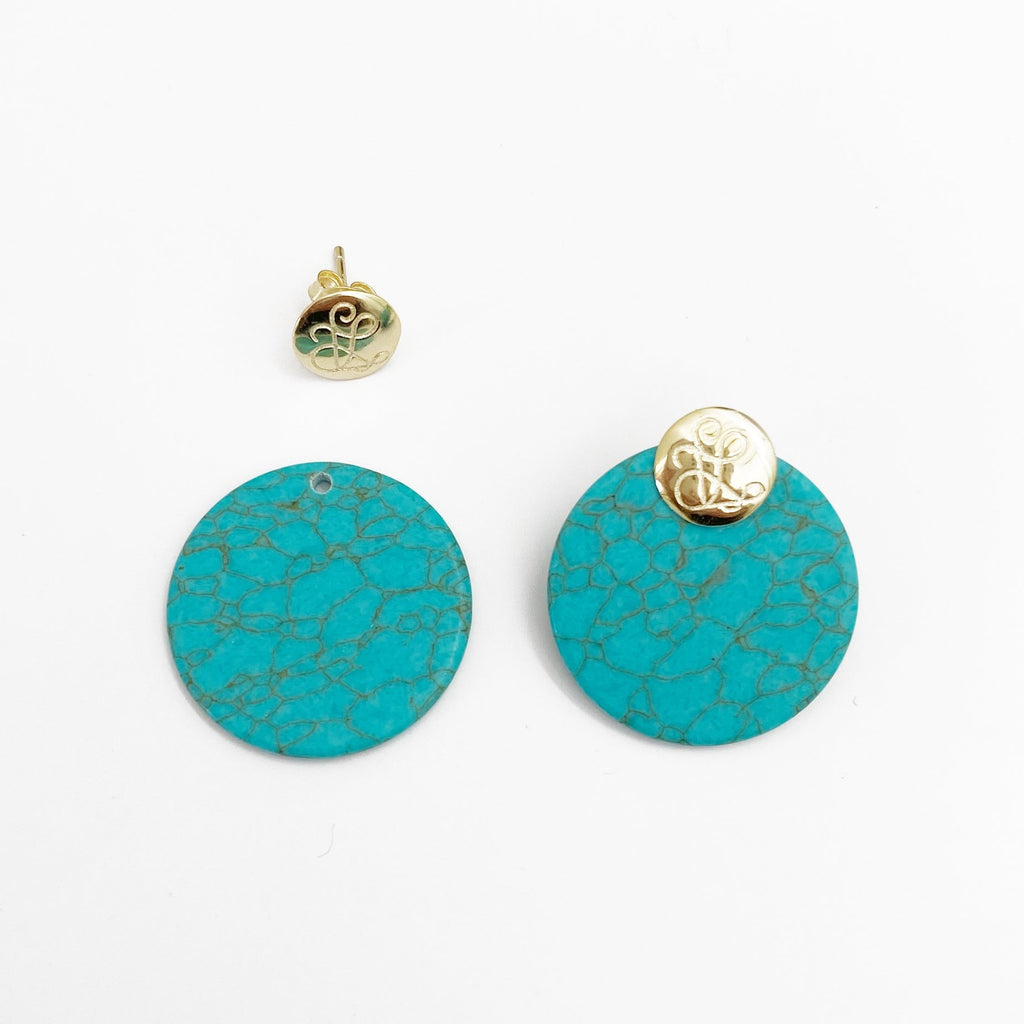 Ladies Front Back Earrings - Turquoise