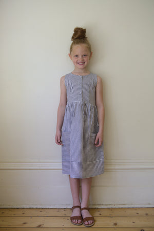 Kate dress – grey & white stripe