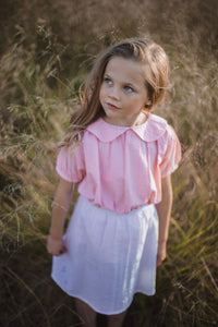 Little girls vintage inspired Magnolia blouse in pink