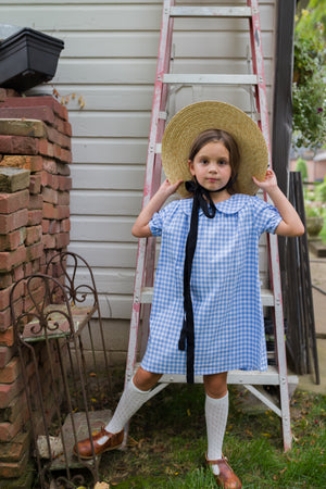 blue and white ginghma Little girls vintage inspired Magnolia dress