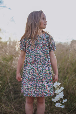 Little girls vintage inspired Magnolia dress in floral