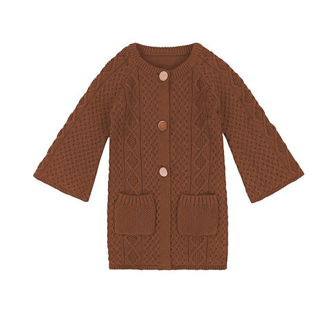 Lucie long-line cardigan - umber