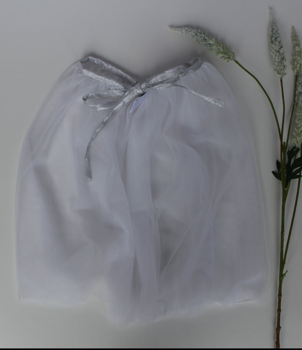 Tulle playskirt/cape (white/silver)