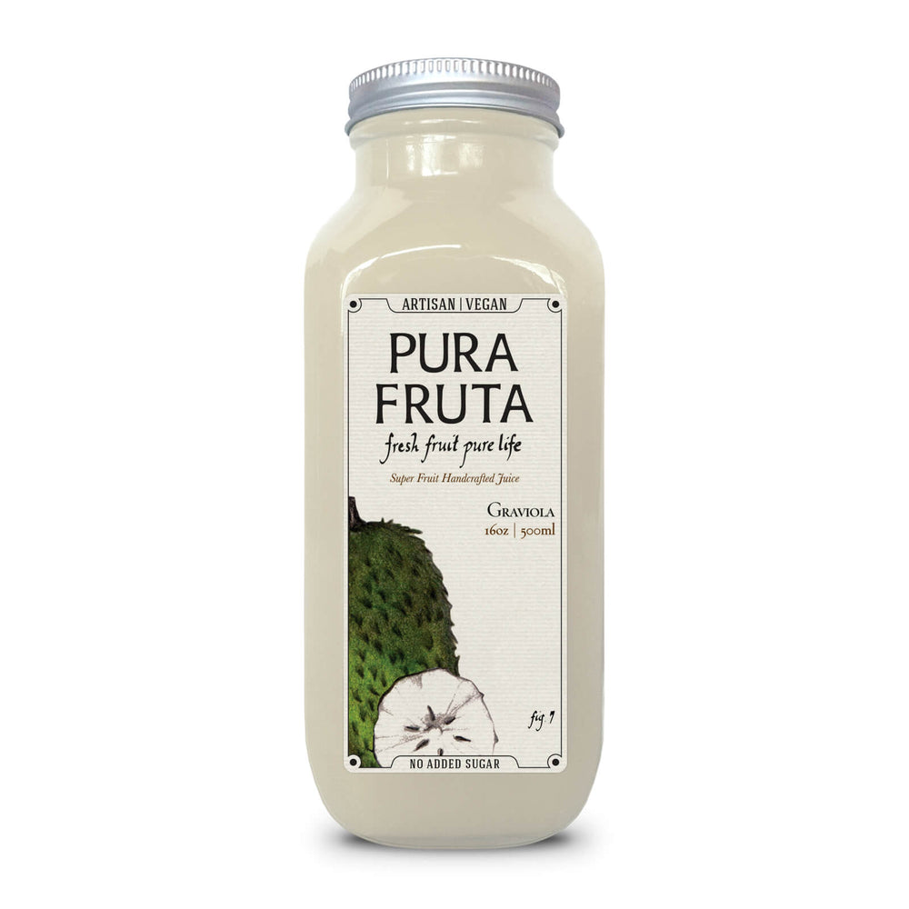 Pura Fruta Cold-Pressed Graviola / Soursop Juice 16oz Glass (Pack of 6)