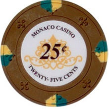 $0.25 Cent Brown Lucky Monaco Casino 13.5 Gram - 100 Poker Chips