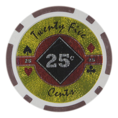 $0.25 Twenty Five Cent Black Diamond 14 Gram - 100 Poker Chips