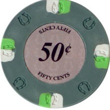$0.50 Cent Gray Lucky Casino 13.5 Gram - 100 Poker Chips