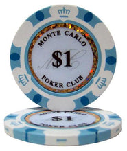 $1 One Dollar Monte Carlo 14 Gram - 100 Poker Chips