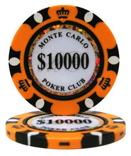$10,000 Ten Thousand Dollar Monte Carlo 14 Gram - 100 Poker Chips