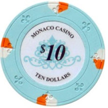 $10 Light Blue Lucky Monaco Casino 13.5 Gram - 100 Poker Chips