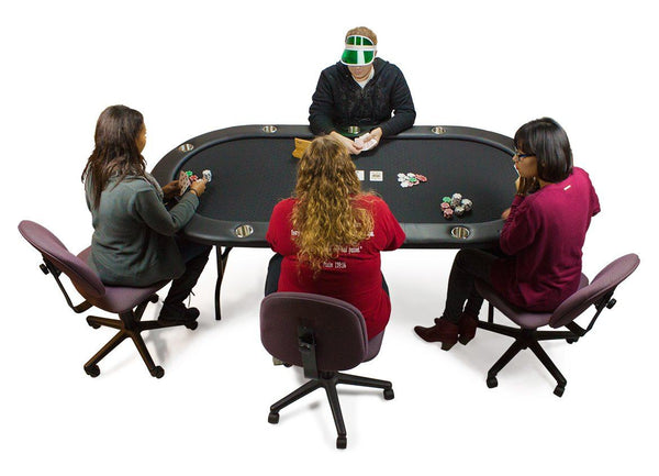 10 Player Black Suited Speed Cloth Poker Table W Folding Legs