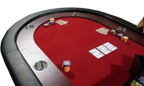 10 Player Red Racetrack Poker Table W Folding Legs