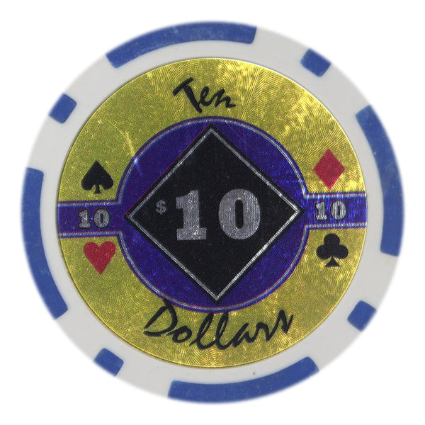 $10 Ten Dollar Black Diamond 14 Gram - 100 Poker Chips