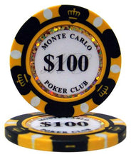 $100 One Hundred Dollar Monte Carlo 14 Gram - 100 Poker Chips