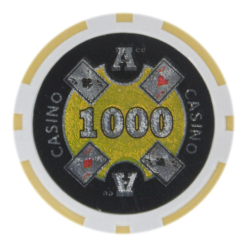 $1000 One Thousand Dollar Ace Casino 14 Gram - 100 Poker Chips