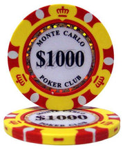 $1000 One Thousand Dollar Monte Carlo 14 Gram - 100 Poker Chips