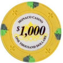 $1000 Yellow Lucky Monaco Casino 13.5 Gram - 100 Poker Chips