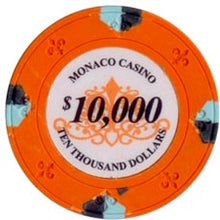 $10000 Orange Lucky Monaco Casino 13.5 Gram - 100 Poker Chips