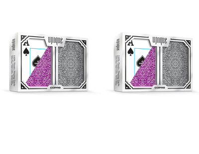 2 Sets Copag Unique Purple Grey Poker Size Jumbo Index