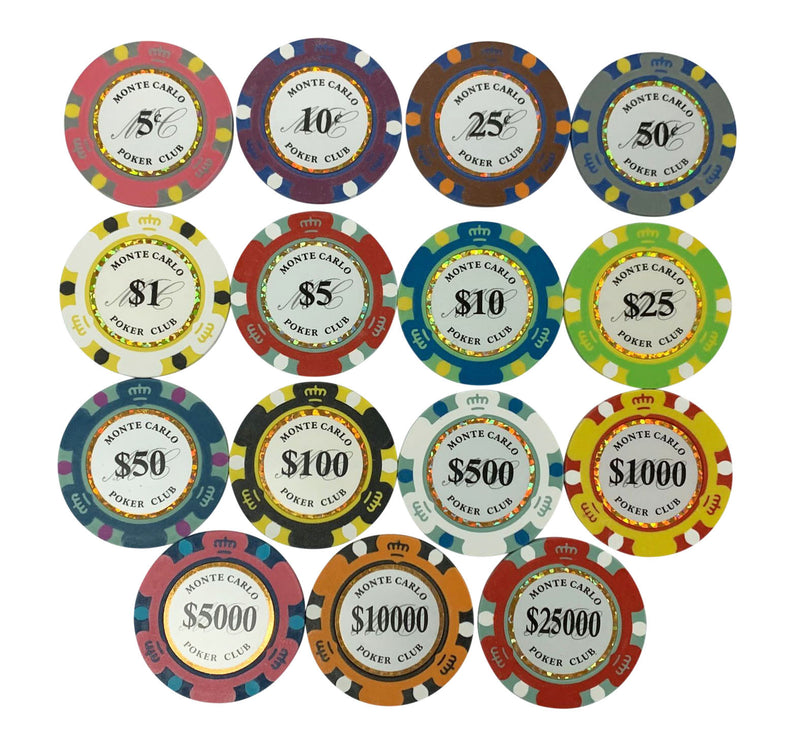 $1000 One Thousand Dollar Monte Carlo Smooth 14 Gram Poker Chips