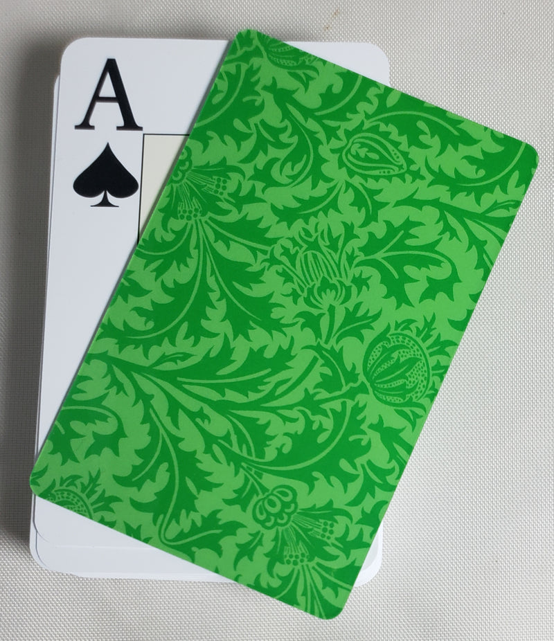 Green Formal Design Stiff Cut Cards Bridge Narrow Size (2 PCS)
