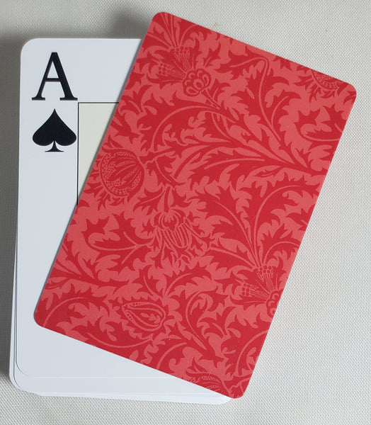 Red Formal Design Stiff Cut Cards Bridge Narrow Size (2 PCS)