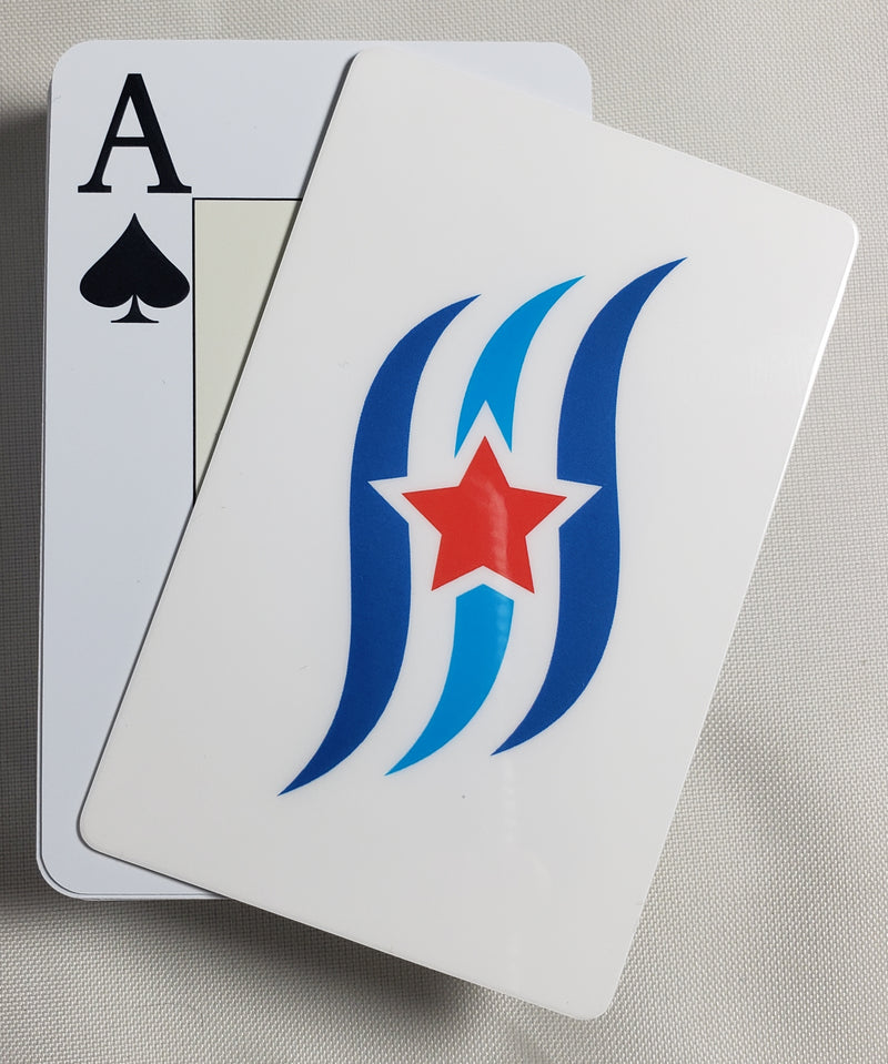 White Blue Wave Stiff Cut Cards Poker Wide Size (2 PCS)