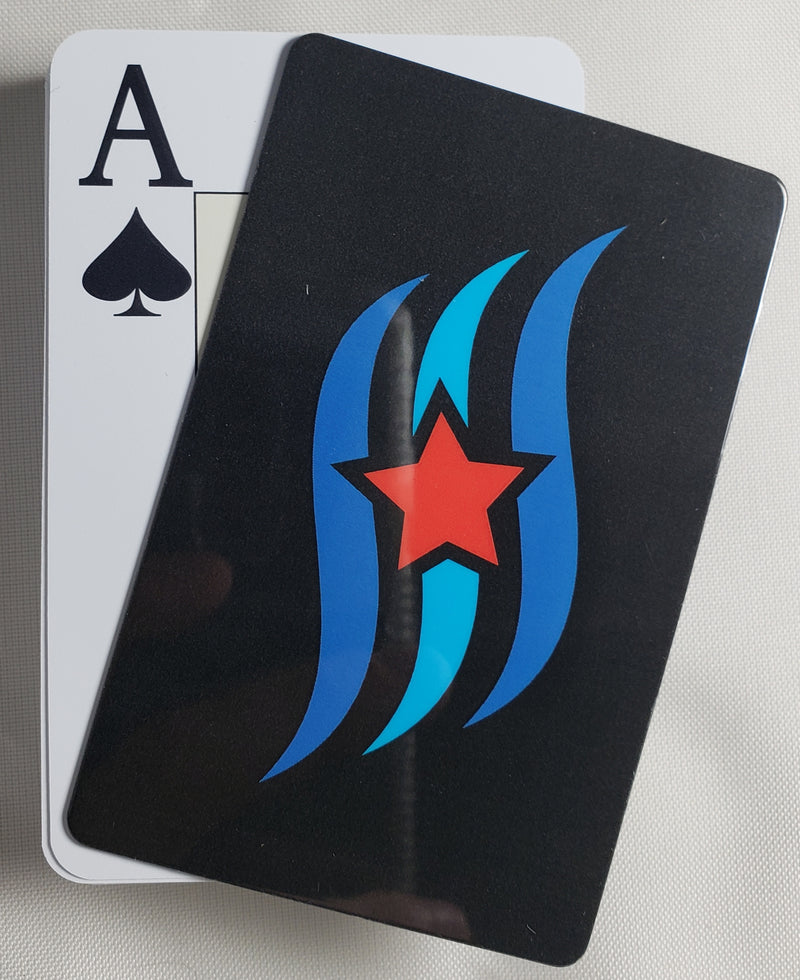 Black Blue Wave Stiff Cut Cards Poker Wide Size (2 PCS)
