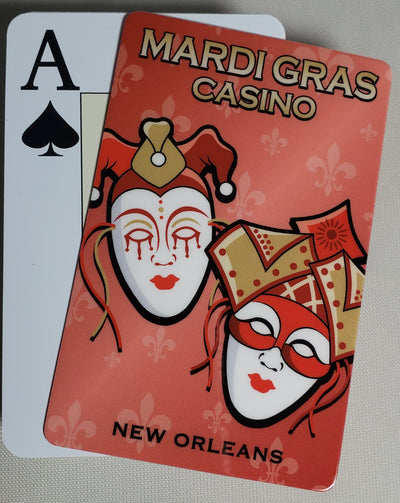 Red Mardi Gras Stiff Cut Cards Bridge Narrow Size (2 PCS)