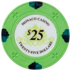 $25 Green Lucky Monaco Casino 13.5 Gram - 100 Poker Chips